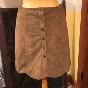 Tan, suede, button-down, mini/mid-length skirt